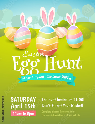Foto  Vector cute poster for Easter Egg Hunt with colored eggs and ears of a rabbit