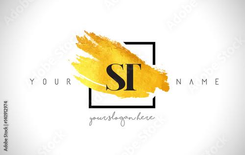 St Golden Letter Logo Design With Creative Gold Brush Stroke