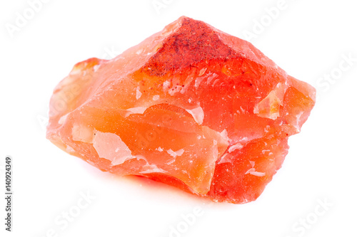 Valokuva  Macro mineral stone Carnelian on white background