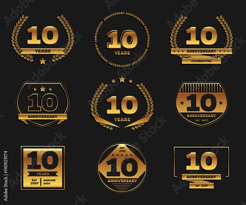 Ten Years Anniversary Celebration Logotype 10th Anniversary Gold