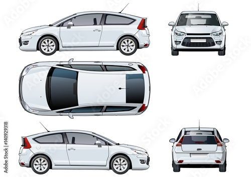 Vector car template isolated on white  Available EPS-10