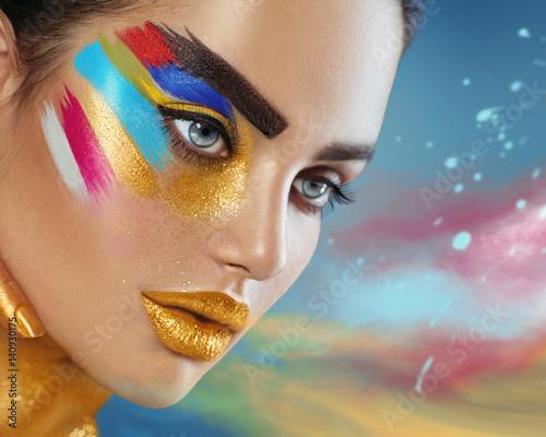 Foto op Plexiglas Beauty Beauty fashion art portrait of beautiful woman with colorful abstract makeup