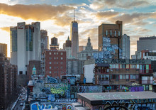 Graffiti Covered Rooftops Of Chinatown New York City, NYC