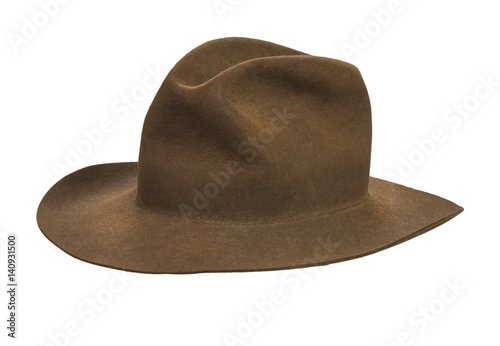 Fotomural  Brown felt fedora hat