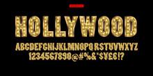 Hollywood. Color Golden Alphab...
