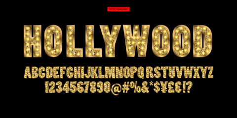 Hollywood. Kolor Złoty alfabet z lampkami pokazowymi.