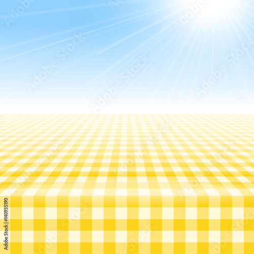 Empty Picnic Table, Covered With Checkered Gingham Tablecloth. Clear Blue  Sky Background. Summer
