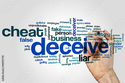 Fotografering  Deceive word cloud concept on grey background