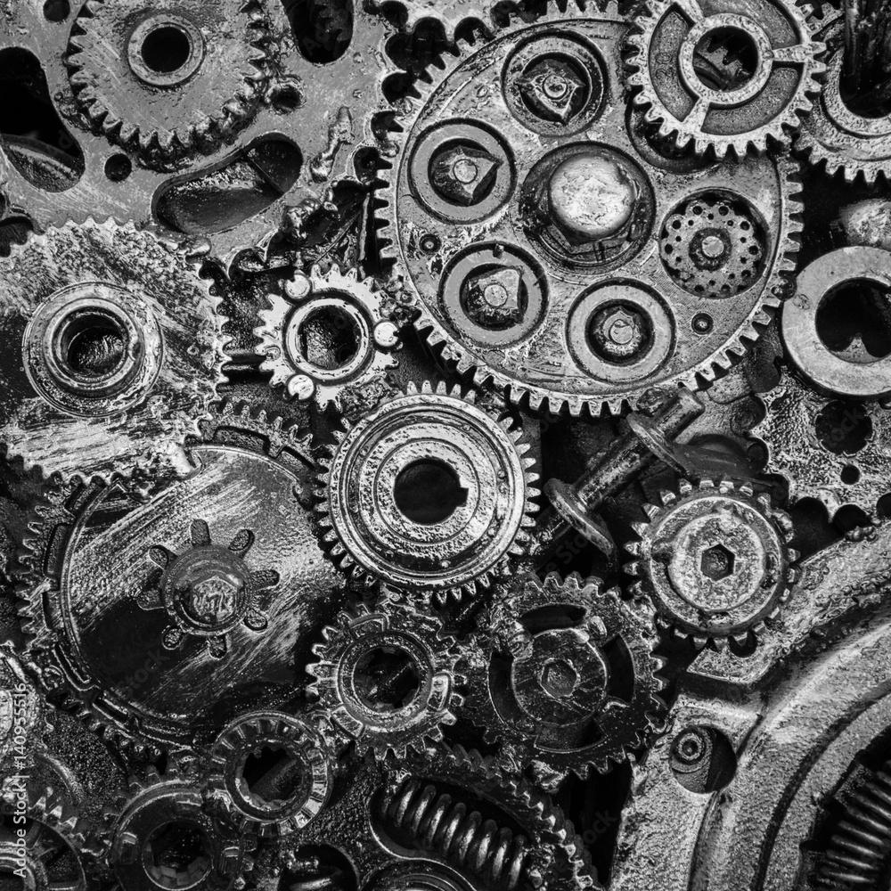 Fototapeta Metal cog wheels bonding together