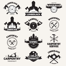 Collection Of Isolated Vintage Lumberjack Labels With Small Retro Style Carpentry Woodworks Compositions With Decorative Text Vector Illustration.