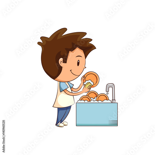 Child washing dishes - Buy this stock vector and explore ... (500 x 500 Pixel)