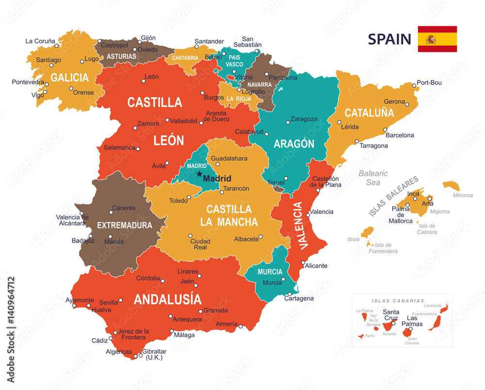 Map Of Spain To Print.Photo Art Print Spain Map Illustration Europosters