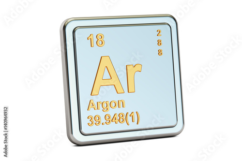 Photo Argon Ar, chemical element sign. 3D rendering