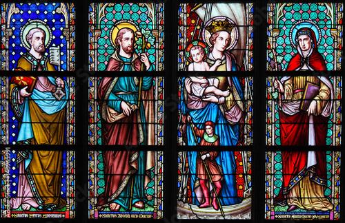 Fotografie, Obraz  Stained Glass - Saints in Sablon Church, Brussels