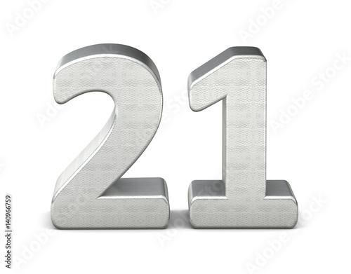 Poster  21 zahl silber 3d number silver struktur