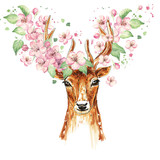 Beautiful deer, big antlers, spring flowers on the horns, branches, cherry blossom. Watercolor - 140972920