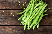 Fresh Green Beans On Dark Wood...