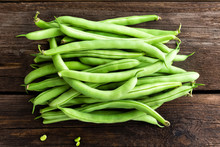 Fresh Green Beans On Dark Wooden Rustic Background Top View Flat Lay