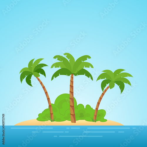 Foto op Aluminium Blauw Paradise in Hawaii. Tropical island in the sea with palms and bush. Place to spend a vacation away from civilization.