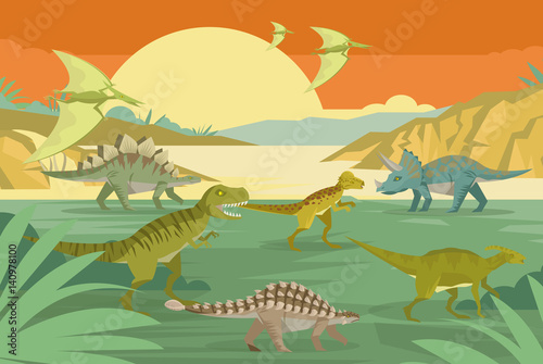 Deurstickers Dinosaurs wild dinosaurs in the jungle
