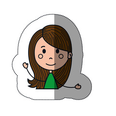 girl cartoon icon over white background. colorful design. vector illustration