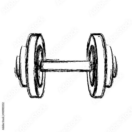 Fotografia  monochrome sketch of dumbbell for training in gym vector illustration