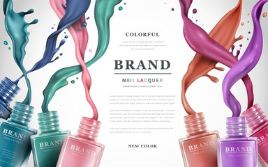 Colorful nail lacquer ads