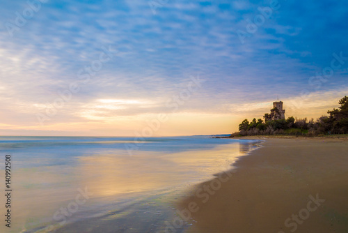 Pineto (Abruzzo, Italy) - The sunrise on the Adriatic sea, from the Pineto beach Canvas Print