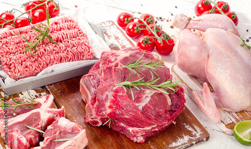 Door stickers Meat Different types of meat with herbs. Flat lay