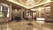 3d animation of classic deluxe lobby with reception