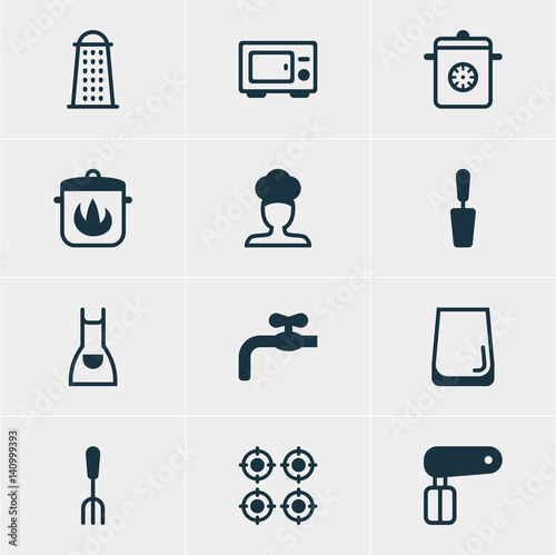 Photo  Vector Illustration Of 12 Kitchenware Icons