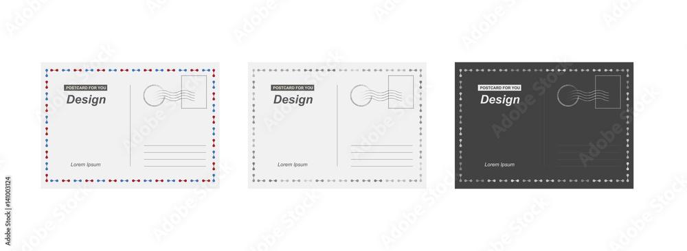 Fototapeta Set vector postcard. Postal card for travel. Template design for your cards.