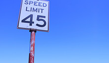 The Forty Five Miles Per Hour Street Speed Limit Sign In Sunny Day