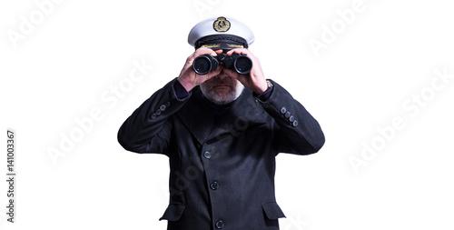 Cuadros en Lienzo Kapitän, Chef mit Weitblick und Fernglas