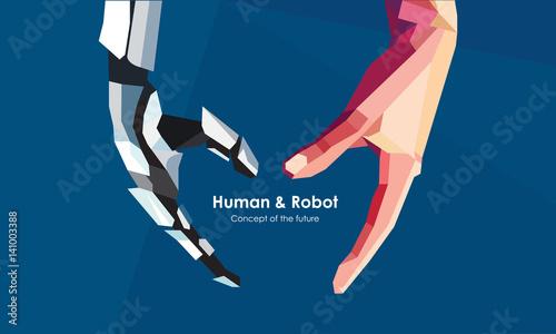 Fotografie, Obraz  Human and robot hands