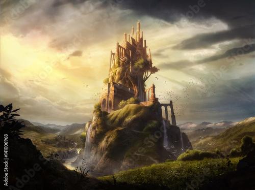 Canvastavla digital illustration of mix media of a imaginative castle fortress in fantasy la