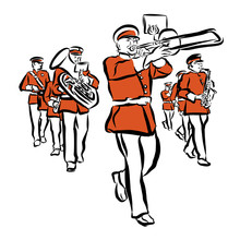 Red Colored Marching Band Illu...