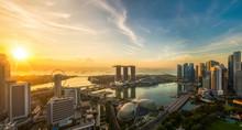 Landscape Of Singapore City In Morning Light Sunrise