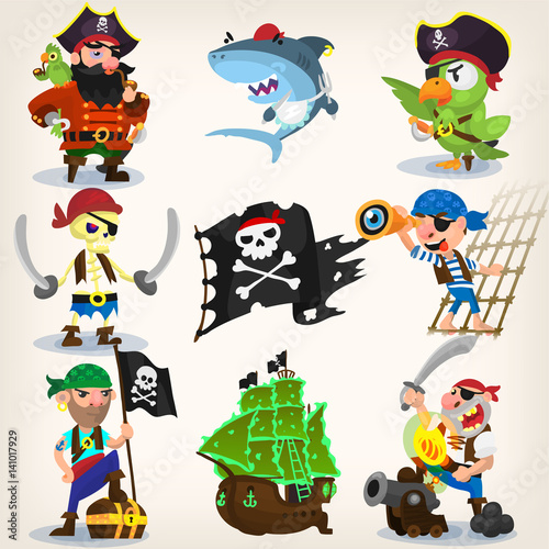 Garden Poster Robots Set of fearless pirates