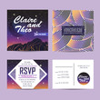 wedding invitation with rsvp card. cosmic design with star shine. beautiful sunset