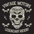 Vintage motors. Emblem with skull