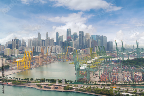 Foto op Aluminium Buffel Aerial view of Singapore shipping port with Central Business District, Singapore