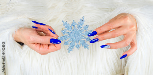 Christmas blue nails Poster