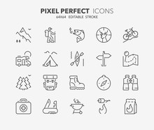 Outdoor And Camping Thin Line Icons 1