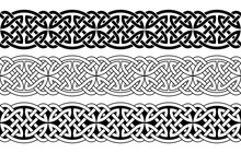 Celtic National Seamless Ornament Interlaced Tape. Black Ornament Isolated On White Background.