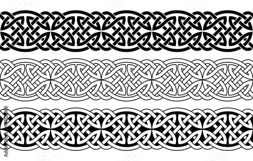 Celtic national seamless ornament interlaced tape Canvas Print