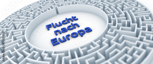 Fotografie, Obraz  Flucht nach Europa - Thema Flucht, Einwanderung, EU
