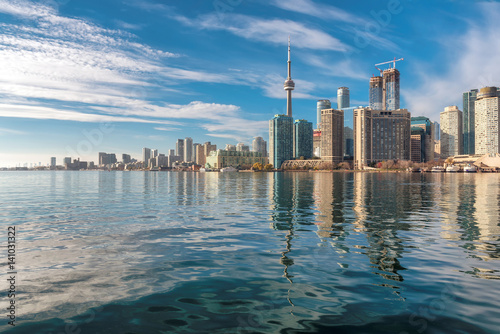 Beautiful Toronto skyline with CN Tower over Ontario lake. Canada.