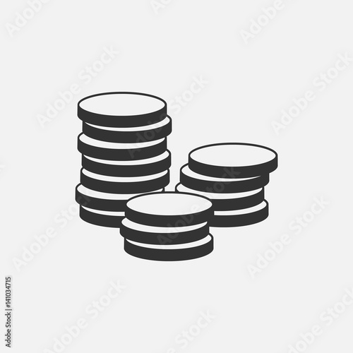 Fotomural Coins Icon isolated on grey background
