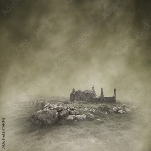 Valokuva  Abandoned, derelict croft in a bleak, misty moorland landscape captured using long exposure, bokeh and other effects with some areas blurred to create a surreal and dreamlike effect